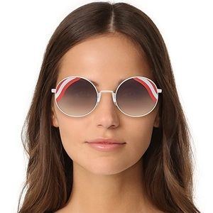 NWT Fendi 53MM Red Round Waves Sunglasses $495